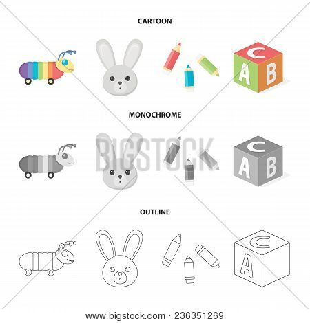 Children Toy Cartoon, Outline, Monochrome Icons In Set Collection For Design. Game And Bauble Vector