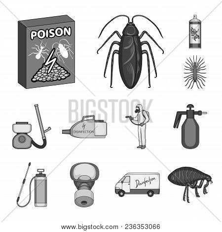 Pest, Poison, Personnel And Equipment Monochrome Icons In Set Collection For Design. Pest Control Se