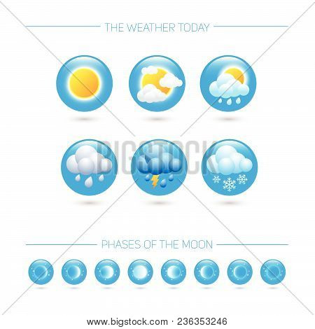 Weather Icons. Weather Emblem. Round Icons With Weather Symbols And Phases Of The Moon.