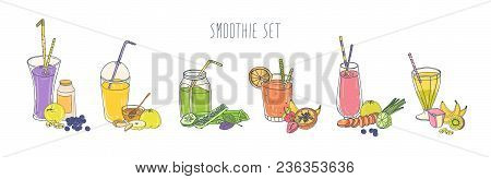 Collection Of Colorful Refreshing Soft Drinks In Glasses And Jars With Straws And Ingredients. Set O