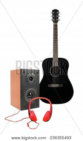 Music And Sound - Front View Black Acoustic Guitar, Line Array Loudspeaker Enclosure Cabinet And Red