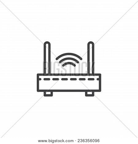 Wifi Internet Router Outline Icon. Linear Style Sign For Mobile Concept And Web Design. Wireless Rou