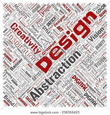 Conceptual creativity art graphic identity design visual square red word cloud isolated background. Collage of advertising, decorative, fashion, inspiration, vision, perspective modeling