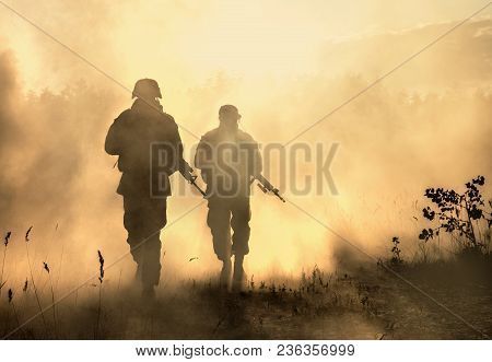 United States Marines In Action. Military Equipment, Army Helmet, Warpaint, Smoked Dirty Face, Tacti