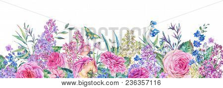 Horizontal Vintage Watercolor Greeting Card With Pink Roses And Lilacs, Nature Frame With Flowers, L
