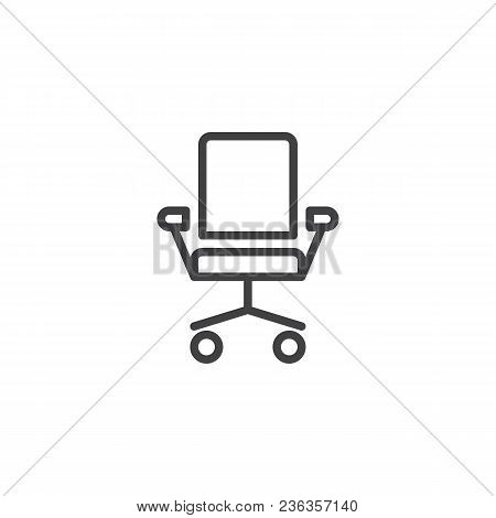 Office Chair Outline Icon. Linear Style Sign For Mobile Concept And Web Design. Ergonomic Armchair S