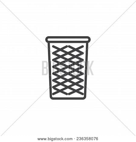 Wastepaper Basket Outline Icon. Linear Style Sign For Mobile Concept And Web Design. Recycle Bin Sim