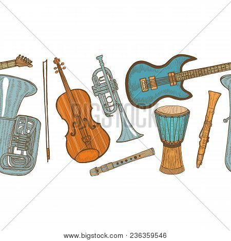 Musical Instruments Pattern. Seamless Background In Hand Drawn Style For Surface Design Fliers Print