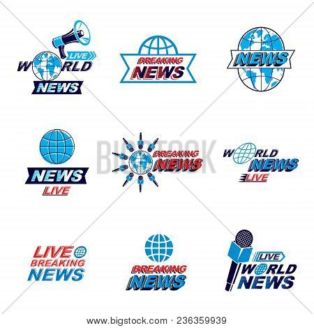 Social Announcement Logo, Emblems And Leaflets Collection. Vector Earth, Journalistic Microphones An