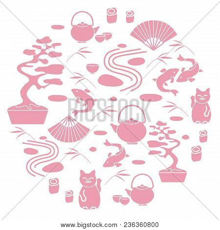 Cute Vector Illustration With Bonsai Tree, Minimal Rock Garden, Japanese Lucky Cat Maneki Neko, Carp