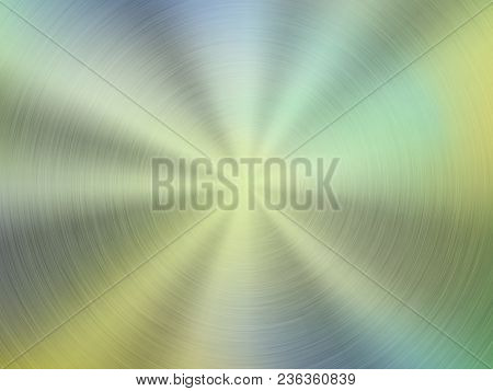 Metal Green Abstract Colorful Gradient Technology Background With Circular Polished, Brushed Concent