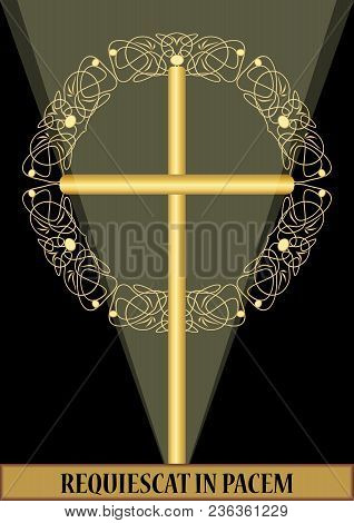 Classical Luxury Funereal Decoration With Golden Crucifix With Golden Floral Decoration And Swirly E