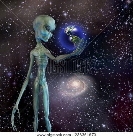 Alien being ponders earth. 3D rendering