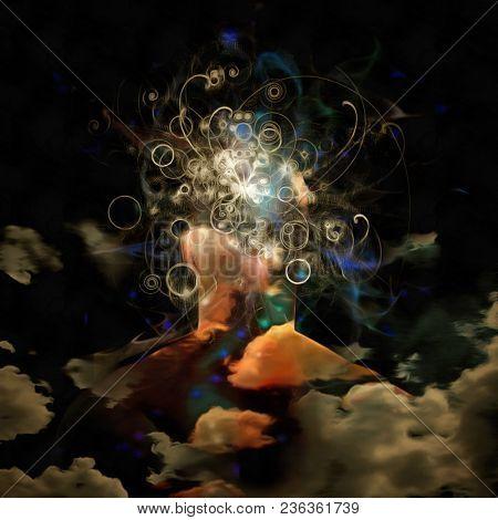 Surreal digital art. Man's head in clouds. Bright swirls of light. 3D rendering