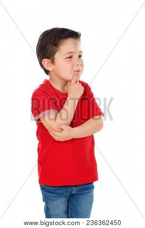 Pensive kid imagining something isolated on a white background