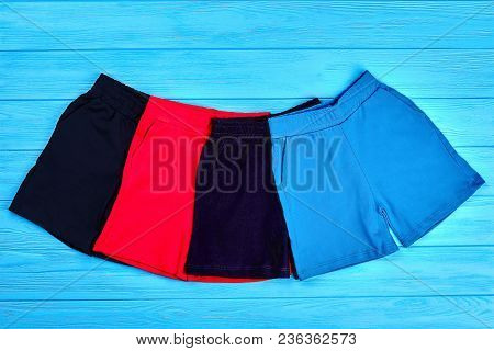 Set Of Colored Summer Shorts For Kids. Collection Of New Brand Cotton Short Pants For Children. Hot