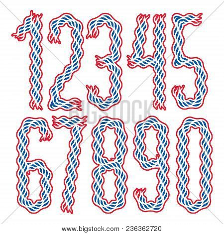 Set Of Stylish Tall Condensed Vector Digits, Modern Numerals Collection Made Using Undulate Lines, F