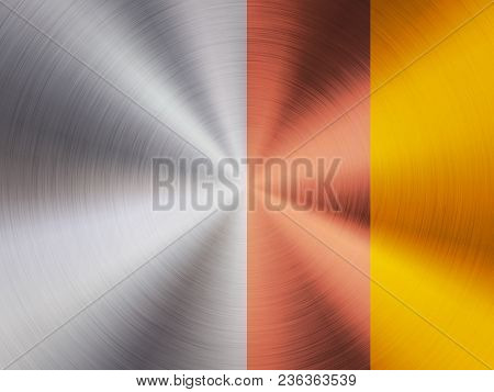 Metal Steel, Bronze And Gold Technology Background With Polished, Circular Brushed Texture, Silver,