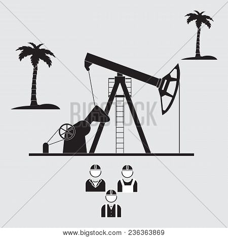 Stylized Icon Of The Equipment For Oil Production On A Light Background With Palm Trees And Three Si