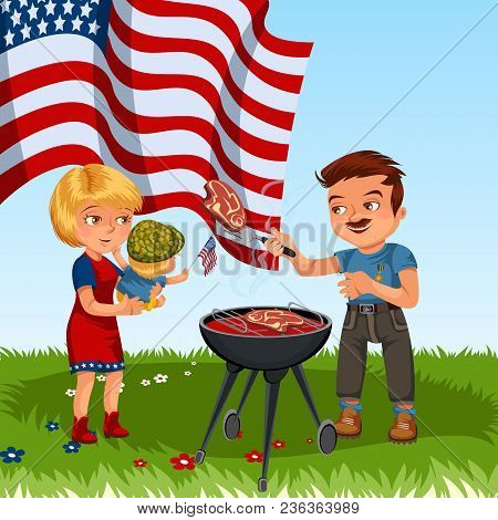 Family Resting In Park Or Garden, Dad Grilling Meat On Grill, Mum Holding Baby On Green Grass With A