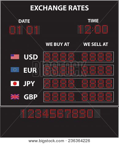 Currency Exchange Black Display Vector Image