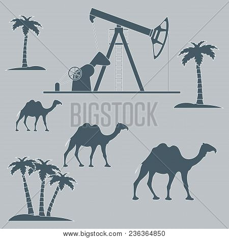 Stylized Icon Of The Equipment For Oil Production On A Color Background With Palm Trees And Camels