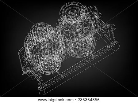 3d Model Of The Reducer On A Black Background. Drawing