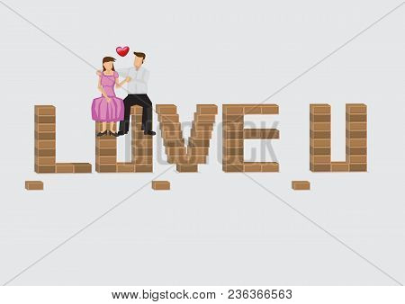 Loving Dating Couple Sitting On Top Of Brick That Forms Text Love U. Cartoon Vector Illustration On