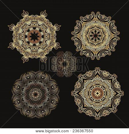Mandala Golden Collection,outline Mandalas Inspired Arabian And Indian, Tibetan  Ornament. Adult Col