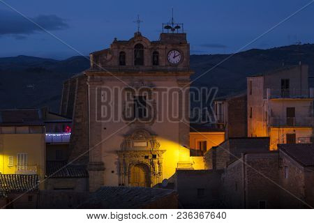 View Of St. Giuseppe Church At Sunset In Leonforte