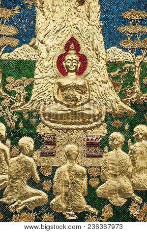 Buddha Teachings  Mosaic Green Blue Gold Vibrant Architecture