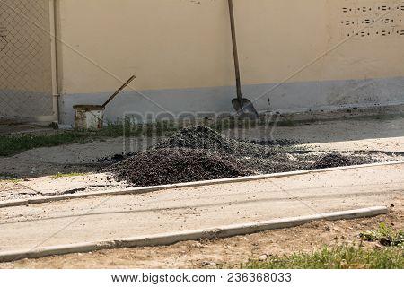 Hot Asphalt On The Road. Road Repair.