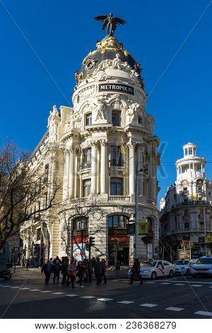 Madrid, Spain - January 22, 2018: Gran Via And Metropolis Building In City Of Madrid, Spain