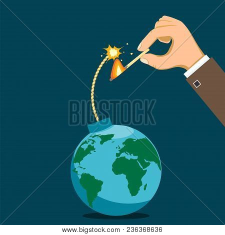 Human Hand Lights The Fuse. Bomb Is Like A Planet Earth. Terrorism And The Cold War. Stock Vector Il