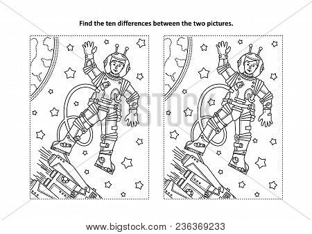 Space Exploration Themed Find The Ten Differences Picture Puzzle And Coloring Page With Astronaut Or