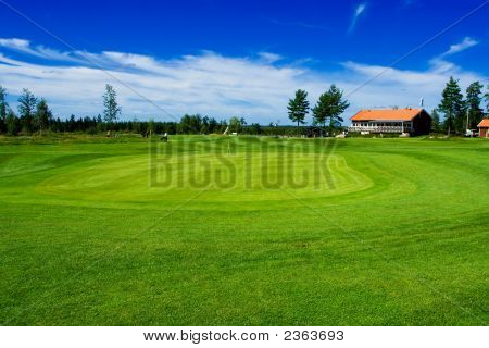 Golf Green And Club House On Swedish Country Side