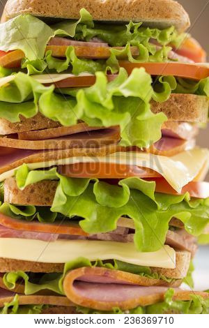 Large And Appetizing Sandwich With Ham Cheese Salad Leaves And Tomatoes Closeup