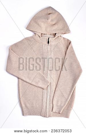 Beautiful Hooded Knitted Jumper Isolated. Warm Cotton Beige Knitted Sweater For Childrens On Sale. H