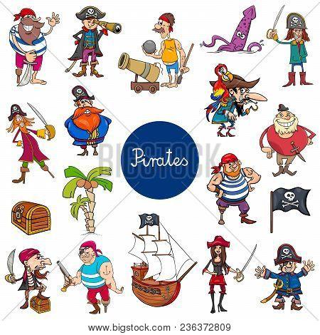 Cartoon Illustration Of Pirates Fantasy Characters Set