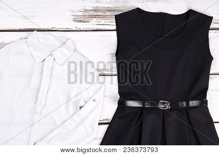 Girls Cotton White Shirt And Black Dress. White Brand Girls Blouse And Black Dress For Office. Littl
