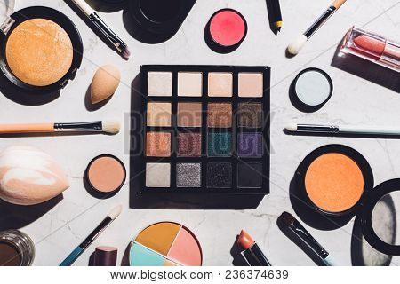 Professional makeup tools laying together in a composition. Flat lay. Makeup set.