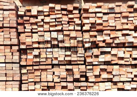 Stack Of Square Rubberwood For Furniture Industry