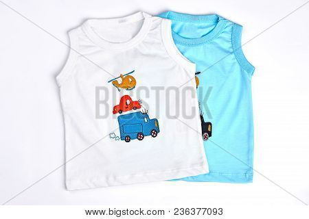 Collection Of New T-shirts For Baby-boys. White And Blue Cartoon Sleeveless T-shirts For Infant Boys