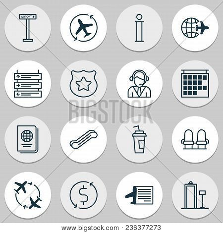 Airport Icons Set With Seats, Airplane Direction, Timetable And Other Cop Symbol Elements. Isolated