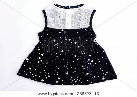 Baby-girl White And Black Dress. Cotton Sleeveless Embroidered Summer Dress For Infant Girl, Isolate