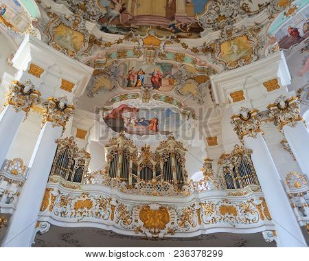 View Of The Art On The Enterior Of The Pilgramage Church Of Wies In Steingaden, Weilheim-schongau Di
