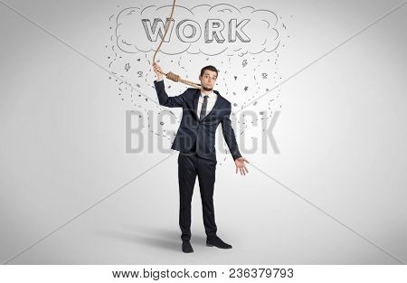 Young desperate businessman with suicide rope concept