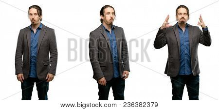 Handsome young man puffing out cheeks, having fun making funny face