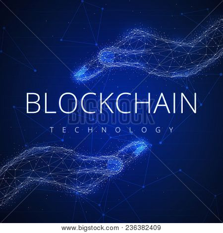 Blockchain technology on futuristic hud background with glowing polygon hands and blockchain slogan peer to peer network. Global cryptocurrency blockchain business banner concept.