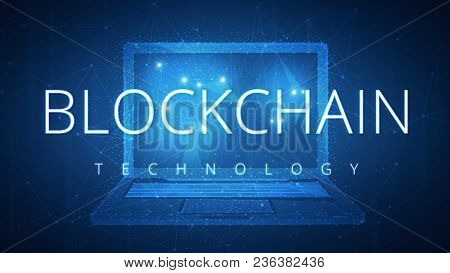 Blockchain technology on futuristic hud background with laptop computer and peer to peer network. Network, e-commerce, bitcoin trading and global cryptocurrency blockchain business banner concept. poster
